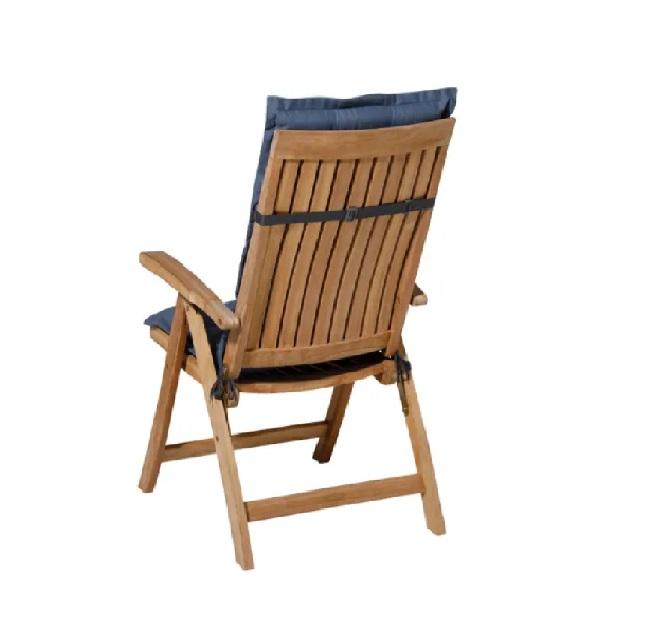 Tuinkussen Panama Safier Blue - Hoge rug incl stoel achterkant