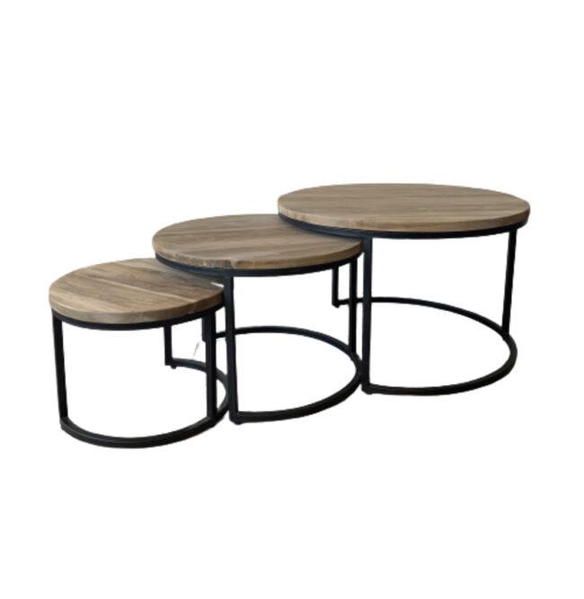Salontafelset rond Teakhout 3-delig - Wiegers XL Asten