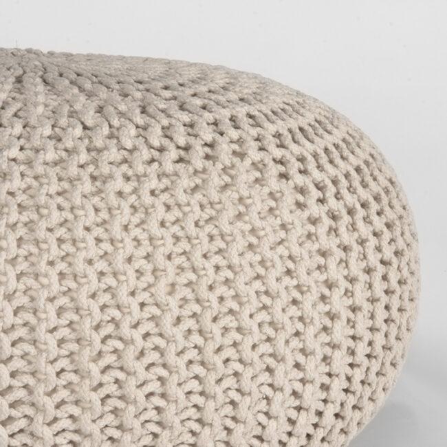 LABEL51 Poef Knitted - Naturel - Katoen - L - SH-24.051