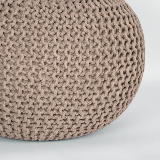 LABEL51 Poef Knitted - Beige - Katoen - M - SH-24.047