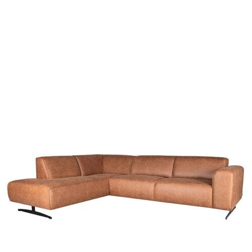 LABEL51 Hoekbank Modena - Cognac - Microfiber - Ottomane + 2