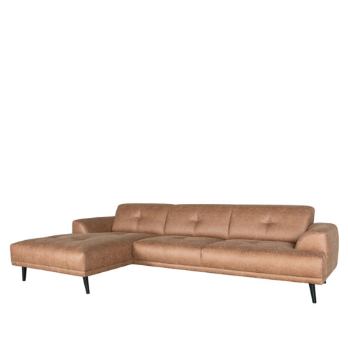 LABEL51 Bank Salerno - Cognac - Microfiber - Chaise Longue + 2